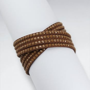 Crisscross Brown Leather Bangle Bracelet