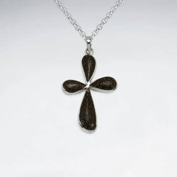 Cross Design Natural Wood Silver Pendant