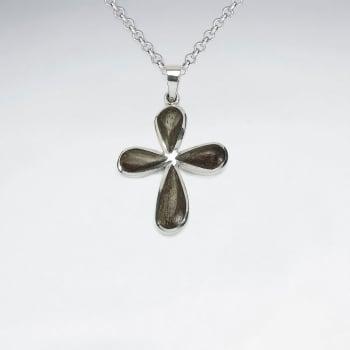 Cross Design Natural Wood Silver Pendant