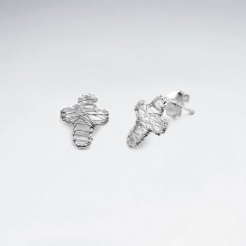 Cross Shape Silver Wirework Stud Earrings