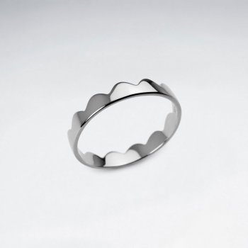 Crowning Touch sterling Silver Scalloped Edge Ring