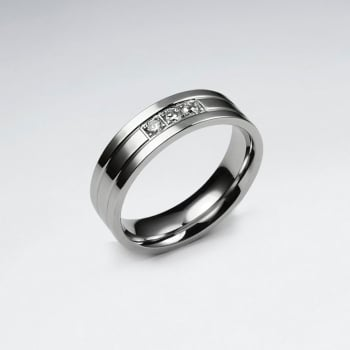 Crystal Accented Stainless Steel Ring