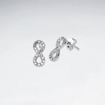 Crystal Encrusted Sterling Silver Infinity Stud Earrings