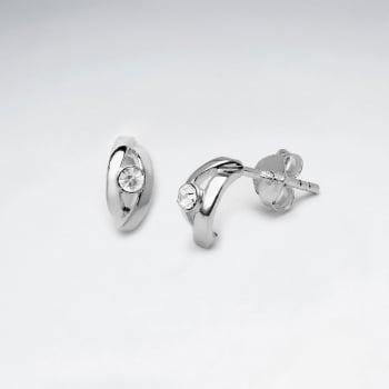 Crystal Eye Sterling Silver Stud Earrings