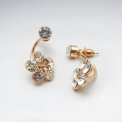 Crystal Flowers Drop Stud Brass  Earrings