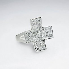 Cubic Zirconia Cross Style White Silver Ring