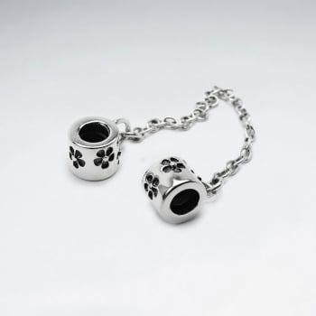 Cuffed Chain Flower Engraved Beads in Sterling Silver