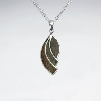 Curve Design Natural Wood Silver Pendant