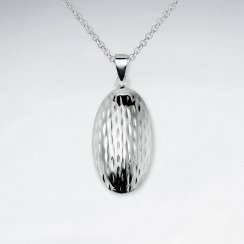 Curved Silver Oval Hammered Polished Pendant
