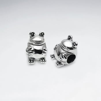 Cute Oxidized Silver Frog Bead Pack Of 2 Pieces