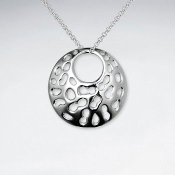 Cutout Dot Speckled Open Disc Silver Pendant