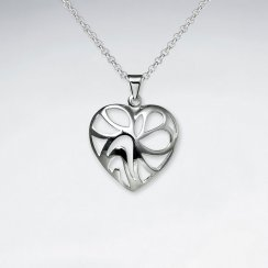 Cutout Heart Polished Silver Pendant