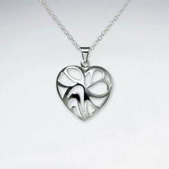 Cutout Heart Polished Silver Pendant