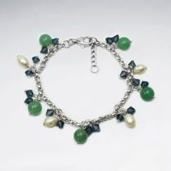 Cystal & Pearl Bead Charm Dangle Bracelet