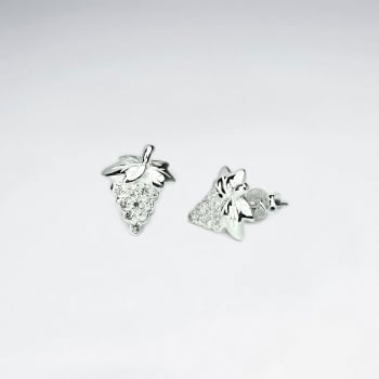 CZ and Silver Grape Stud Earrings