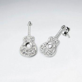 CZ Guitar Stud Silver Earring