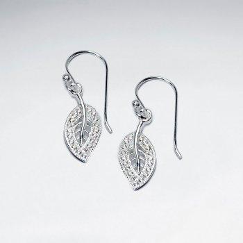 CZ Leaf Stud Silver Earring