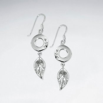 CZ Open Circle Silver Earring With Dangling Silver Leaf