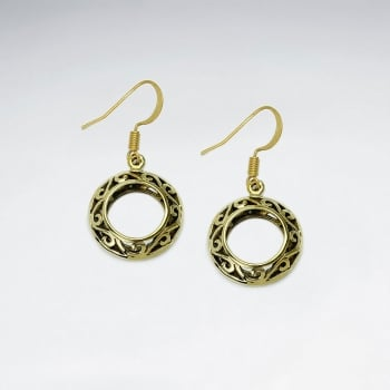 Dainty Brass Tiny Hoop Circle Filigree Dangle Earrings