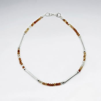 Dainty Carnelian Bead Sterling Silver Bracelet