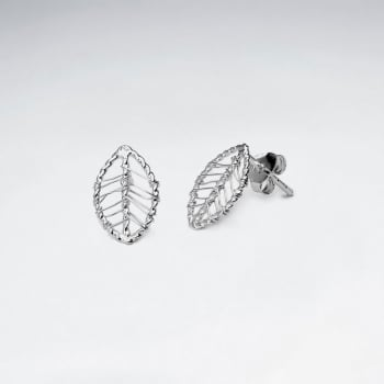 Dainty Leaf Silhouette Silver Wirework Stud Earrings
