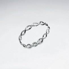 Dainty Openwork Twist Band Sterling Silver Ring