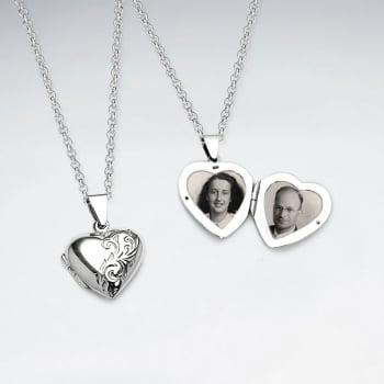 Dainty Oxidized Silver Engraved Heart Locket Pendant