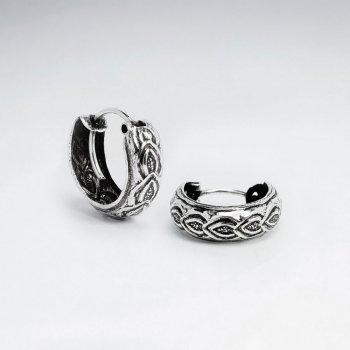 Dainty Oxidized Textured U-Hoop Earrings Pack of 5 Pairs