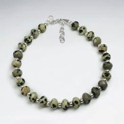 Dalmatine Jasper Faceted Bead Bracelet
