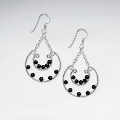 Dangling Basket Silver Earring With Black Stone