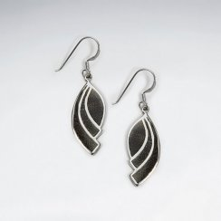 Dangling Black Wood Leaf Silver Earring