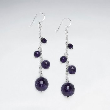 Dangling Cascaded Silver Earring With Multi Round Faceted Amethyst