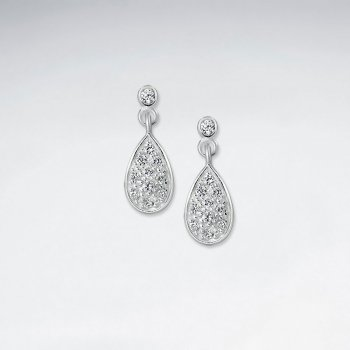 Dangling Drop Silver Earring With CZ