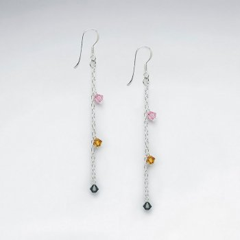 Dangling Silver Earring With Multi Color Crystal Beads