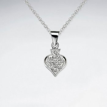 Dangling Spade Silver Pendant With CZ