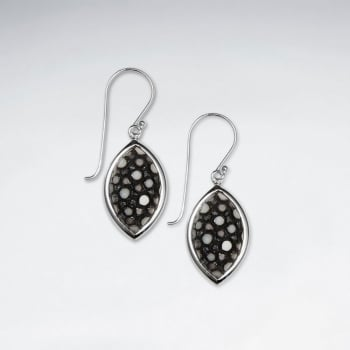 Dark Blue Stingray Marquise Dangling Silver Earring