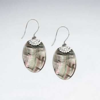 Dark Mother Of Pearl Oval Ornate Silver Earrings