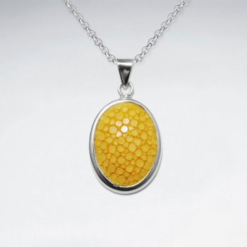 Dark Yellow Oval Stingray Silver Pendant