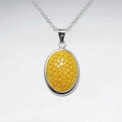 Dark Yellow Oval Stingray Silver Pendant