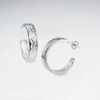 Darling Silver Filigree Half Hoop Stud Post Earrings