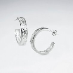 Darling Silver Filigree Half Hoop Stud Post Earrings
