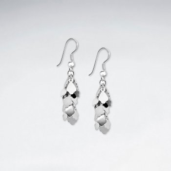 Dazzle Geometric Drop Sterling Silver Dangle Earrings