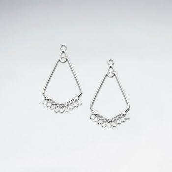 Decorated Geometric Teardrop Hoop-Inspired Earring Accessory in Sterling Silver Pack Of 10 Pieces