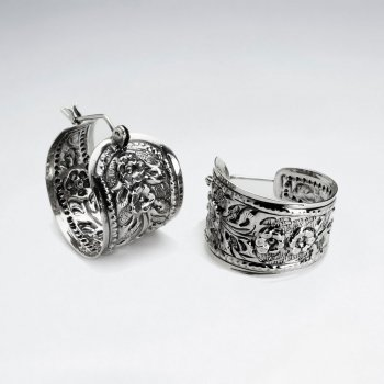 Decorated Silver Huggie Half Hoop Textured Roses Engraved Earrings