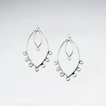 Decorated Sterling Silver Double Teardrop Hoop Earring Accessory Pack Of 10 Pieces