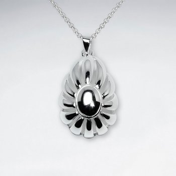 Decorative Polished Silver Bubbled Oval Pendant