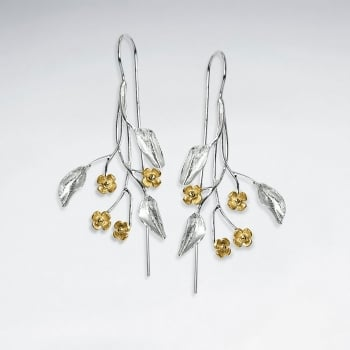 Delicate Branching Floral Earrings in Sterling Silver