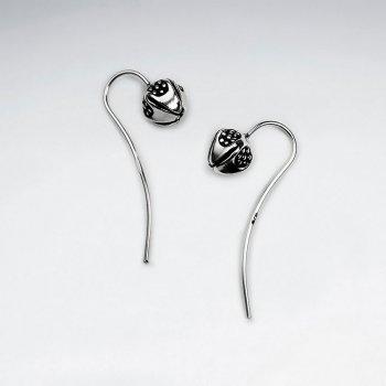 Delicate Bud Flower Hook Earrings in Oxidized Silver
