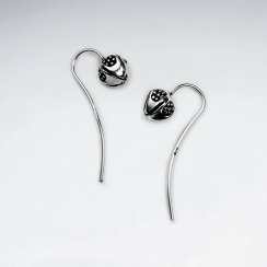 Delicate Bud Flower Hook Earrings in Oxidized Silver