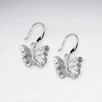 Delicate Dainty Silver Butterfly Dangle Hook Earrings